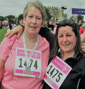Judi & I at the finishing line… Race for Life in Sherborne